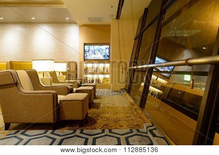 SINGAPORE - NOVEMBER 10, 2015: interior of Plaza Premium Lounge. Plaza Premium Lounge is a global service brand headquartered in Hong Kong