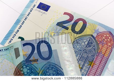 Old And New Twenty 20 Euro Banknote Bill Front From The Europe Series