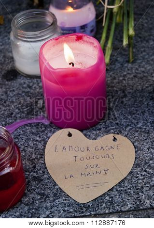 Madrid, Spain - November 15, 2015 - Flowers, Candles And Protest Signs Against Terrorist Attacks In