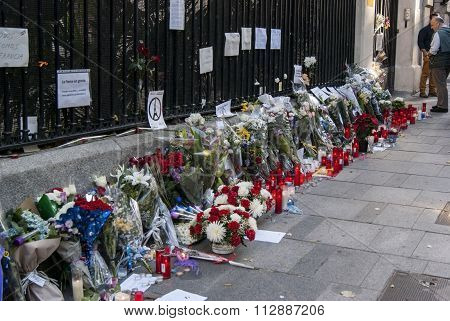 Madrid, Spain - November 15, 2015 - Flowers, Candles And Peace Signs Against Terrorist Attacks In Pa