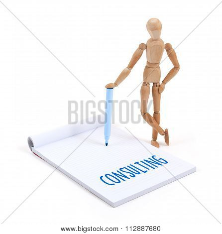 Wooden Mannequin Writing - Consulting