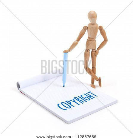 Wooden Mannequin Writing - Copyright