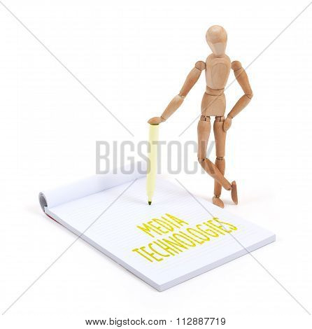 Wooden Mannequin Writing - Media Technologies