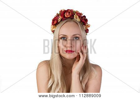 Girl With Flower Chaplet On Her Head And Makeup