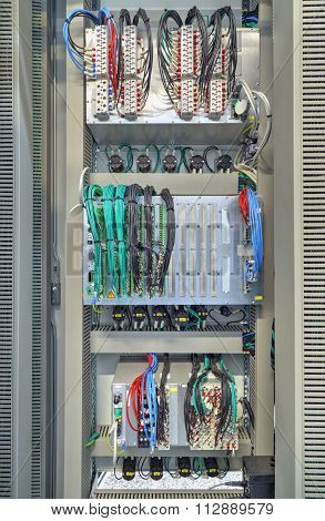 Industrial electrical panel with electronic devices
