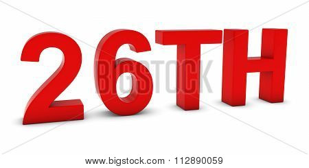26Th - Red 3D Twenty-sixth Text Isolated On White
