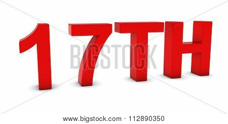 17Th - Red 3D Seventeenth Text Isolated On White