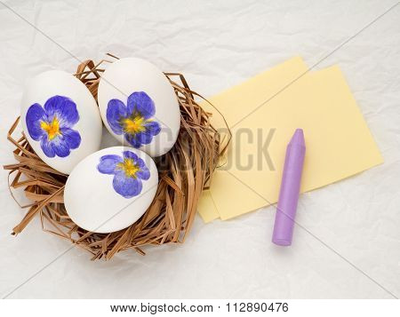 Easter Eggs With Violas