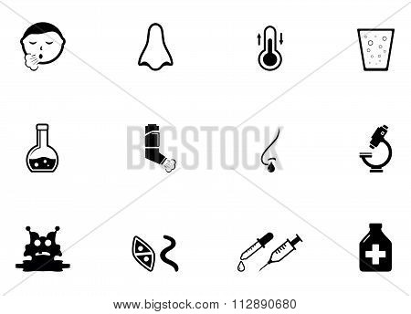 set of illness concept icons