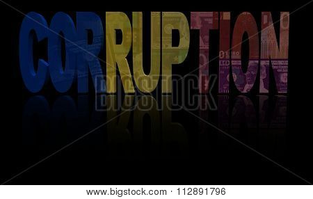 Corruption text with Romanian flag and currency illustration