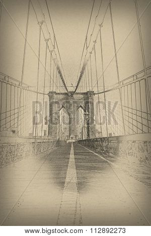 Aged vintage view of one of the towers and the steel wire suspension cables on the Brooklyn Bridge, New York with surrounding vignette