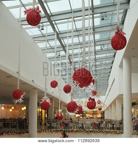 Podgorica, Montenegro, December, 19, 2015: Interior of Delta City - one of the biggest Trade Centers in Montenegro