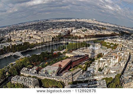 Fish Eye Panorama From Eiffel Tower, With River Seine In Paris