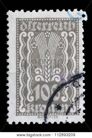 AUSTRIA - CIRCA 1922: A stamp printed in Austria shows Symbols of Agriculture, circa 1922