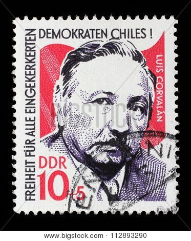 GDR-CIRCA 1973: A stamp printed in GDR from the Chile Solidarity issue, circa 1973.