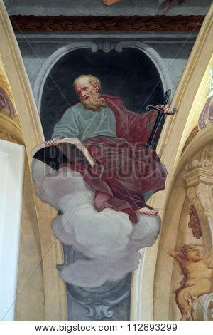 LJUBLJANA, SLOVENIA - JUNE 30: Saint Paul the Apostle, fresco on the ceiling  of the Cathedral of St Nicholas in Ljubljana, Slovenia on June 30, 2015
