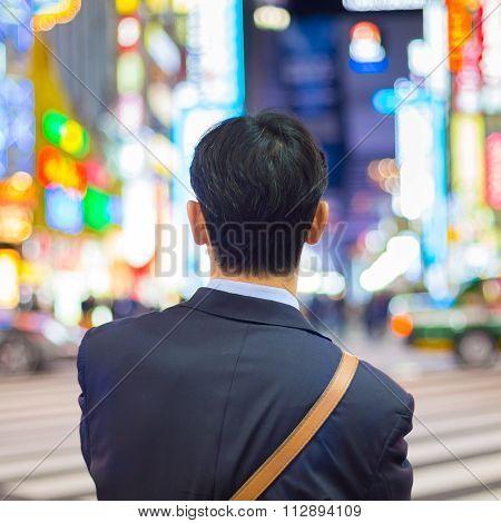 Businessmnn in Shinjuku, Tokyo, Japan.