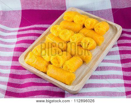 Thai Traditional Dessert, (foi Thong)