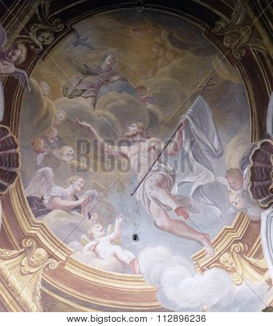 LJUBLJANA, SLOVENIA - JUNE 30: Ascension of Christ, fresco in the St Nicholas Cathedral in Ljubljana, Slovenia on June 30, 2015