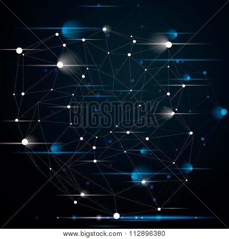 Complicated Abstract Blink 3D Shape, Vector Digital Lattice Object With Flashes. Technology Theme.
