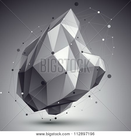 Contemporary Techno Black And White Stylish Construction, Abstract Dimensional Background