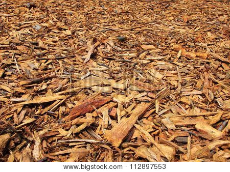 Fresh Wood Chips With Endless Perspective Background