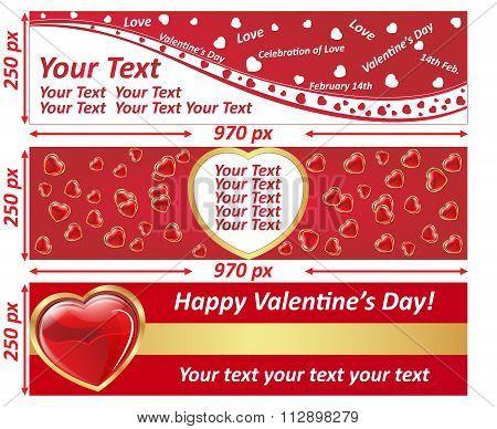 Valentine's Day web billboard banner set.