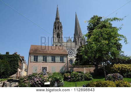 Old Houses And The Cathedral Of Chartres