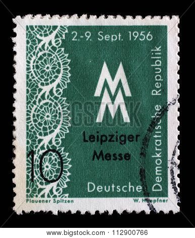 GDR - CIRCA 1956: a stamp printed in GDR shows Leipzig Autumn Fair, circa 1956