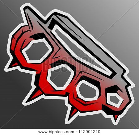 knuckle-duster boxing weapon vector illustration