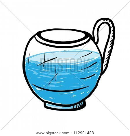 Glass cup with water, sketch illustration.