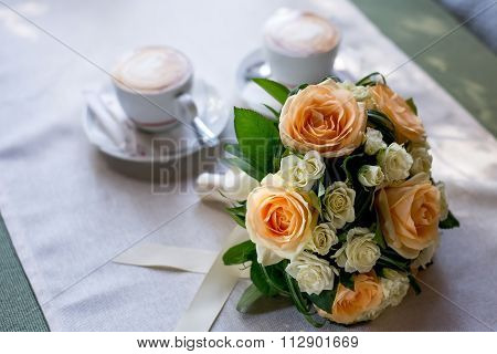 Beautiful wedding flowers bouquet on table