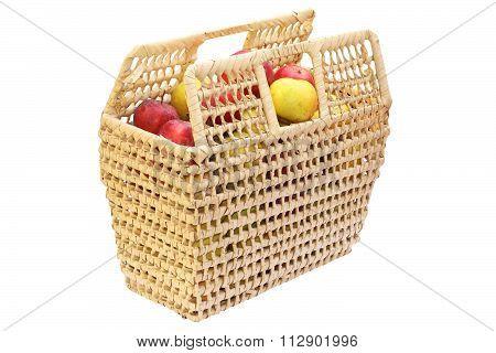 Wattle Basket Full Of Bio Apples