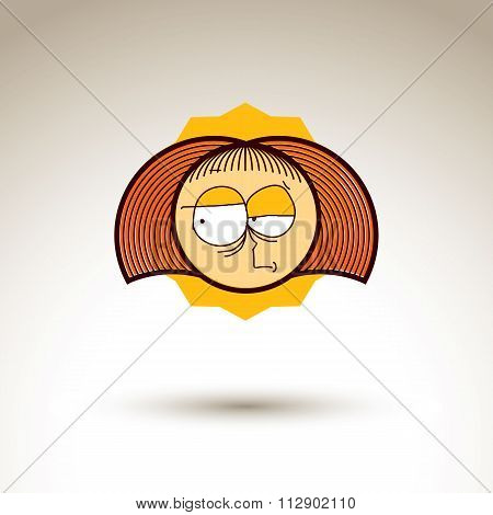 Vector Simple Illustration Of Cartoon Girl Isolated On White Background, Hand Drawn Design Element