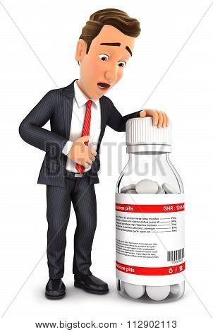 3d businessman stomach ache