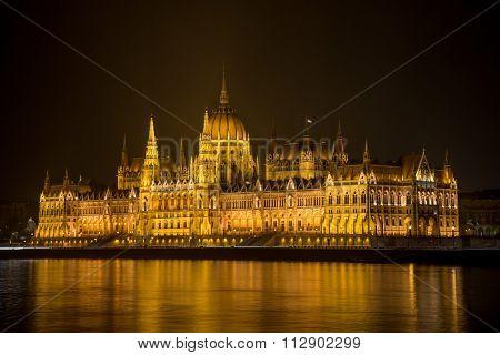 Hungarian Parlament Building At Night