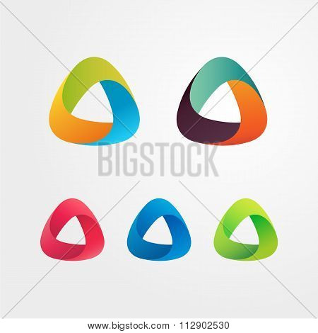 Triangle abstract logo set. Elements for business and icons.