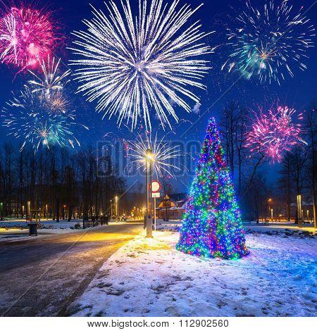 New Years firework display in Zakopane, Poland