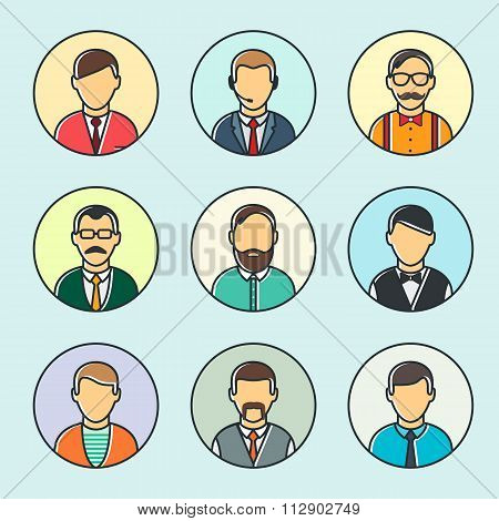 Colorful Male Faces Set Line Style