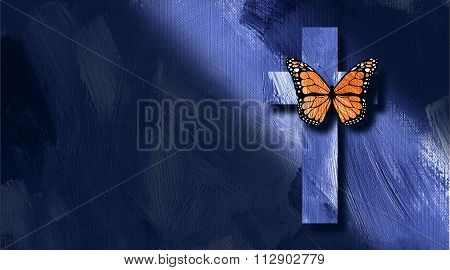 Graphic Christian Cross And Butterfly Rebirth Concept