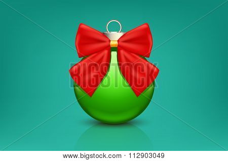 Green Ornament With Red Bow