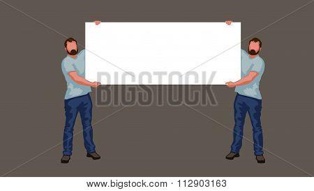 Men holding large blank banner