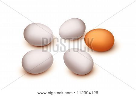 three eggs isolated