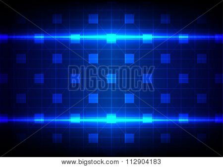 Vector Abstract Network Technology On Blue Color Background