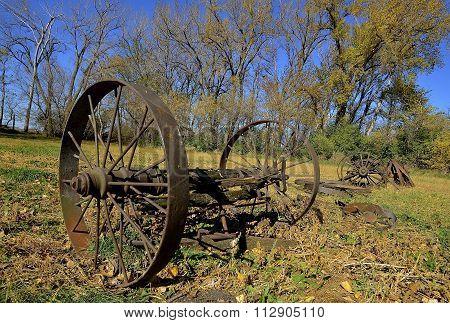 Old Steel wheels of machinery