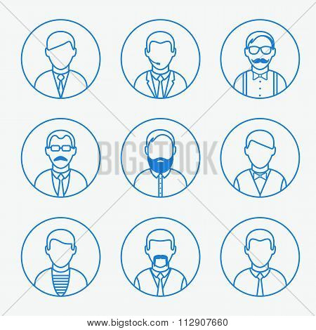 Man outline silhouettes. People line icons.