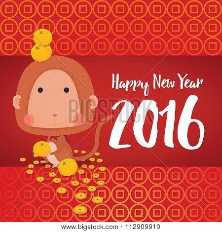 Monkey Happy New Year 2016 Card
