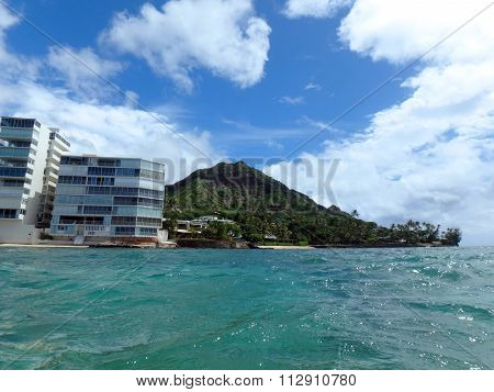 Diamond Head With Makalei Beach, Waves Lapping, Napakaa, Lava Rock Wall And Small Hotels Along The S