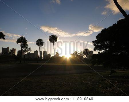 Sunset Over Ala Wai Golf Course And Waikiki