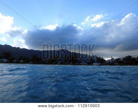 Waimanalo Bay With Beach And Koolau Mountains With Clouds In The Sky